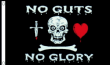 5ft x 3ft 100D Pirate Ship Jolly Roger Skull & Bone No Guts No Glory Biker Flag